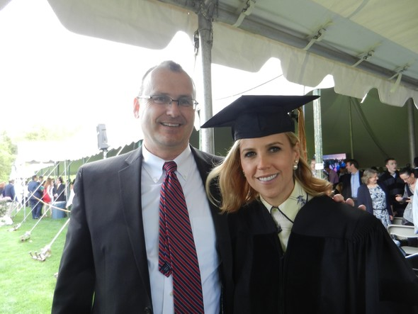 Jeff at son Joshua's 2014 Bbason College graduation with Tori Burch, commencement speaker, famed clothing designer, philantropist.